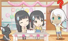 Kowata Makoto, Chito and Kuramoto Chinatsu are celebating Kowata Akane's birthday by themselves, but she came later. (Flying Witch Petit ep 4)