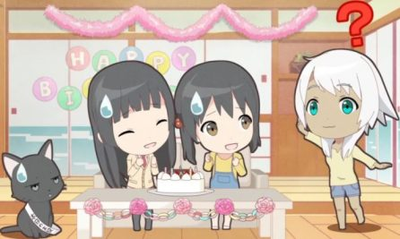 Kowata Makoto, Chito and Kuramoto Chinatsu are celebating Kowata Akane's birthday by themselves, but she came later. (Flying Witch Petit ep 4)