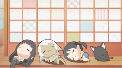 Kowata Makoto Chito Kuramoto Chinatsu & Akane sleep together at the floor. (Flying Witch Petit ep 7)