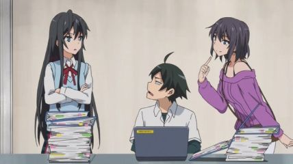 The dark witch (Yukinoshita Haruno (雪ノ下 陽乃)) wants to work, but the nobleman (Yukinoshita Yukino (雪ノ下 雪乃)) will not give it. (Yahari Ore no Seishun Love Comedy wa Machigatteiru. Yahari Ore no Seishun Love Come wa Machigatteiru. Yahari Ore no Seishun Rabukome wa Machigatte Iru. Oregairu My Youth Romantic Comedy Is Wrong, as I Expected. My Teen Romantic Comedy SNAFU やはり俺の青春ラブコメはまちがっている。 俺ガイル 果然我的青春戀愛喜劇搞錯了。 anime ep 11)