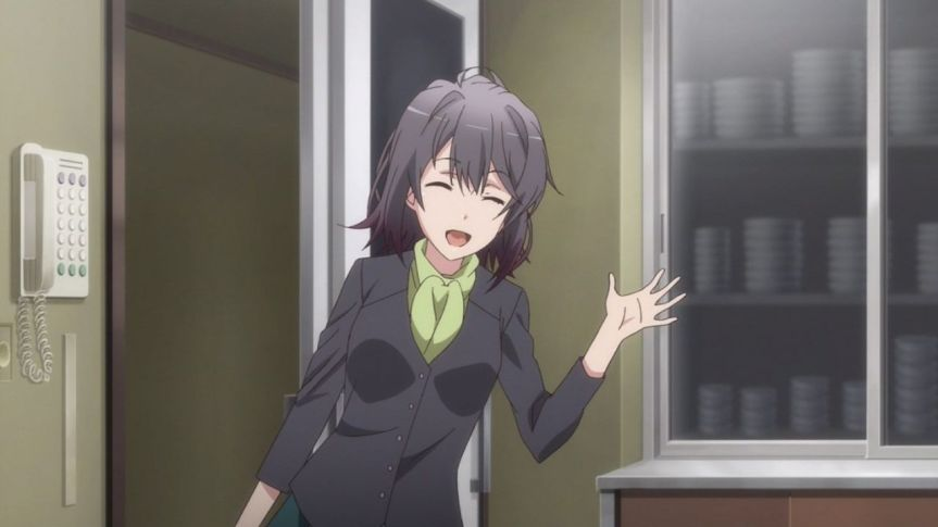 Yukinoshita Haruno (雪ノ下 陽乃) comes to the school so she can continue her secret plan. (Yahari Ore no Seishun Love Comedy wa Machigatteiru. Yahari Ore no Seishun Love Come wa Machigatteiru. Yahari Ore no Seishun Rabukome wa Machigatte Iru. Oregairu Yahari Ore no Seishun Love Comedy wa Machigatteiru. Zoku Yahari Ore no Seishun Love Come wa Machigatteiru. Zoku Oregairu Zoku やはり俺の青春ラブコメはまちがっている。 やはり俺の青春ラブコメはまちがっている。続 俺ガイル 果然我的青春戀愛喜劇搞錯了。 果然我的青春戀愛喜劇搞錯了。續 anime Ep 12)