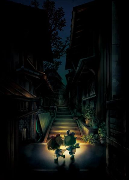 Haru (ハル) & Yui (ユイ) are holding hands one another and going back home at night. (Yomawari: Midnight Shadows Shin Yomawari 深夜廻 Game)
